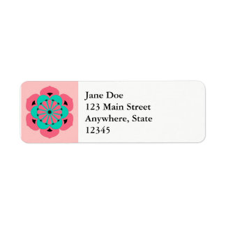 Lotus Flower Mandala, Coral Pink and Turquoise Return Address Label