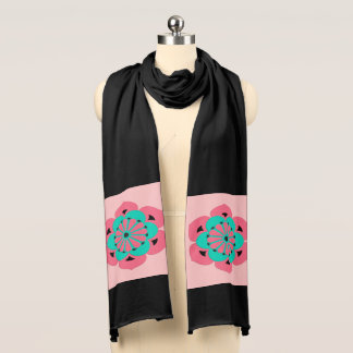 Lotus Flower Mandala, Coral Pink and Turquoise Scarf