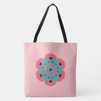 Lotus Flower Mandala, Coral Pink and Turquoise Tote Bag
