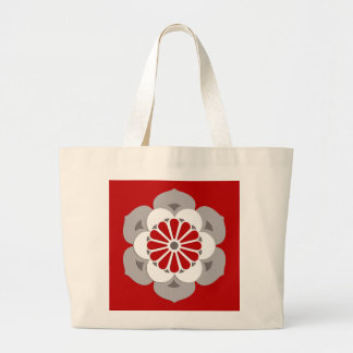 Lotus Flower Mandala, Dark Red, Gray and White Large Tote Bag