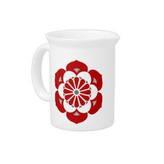 Lotus Flower Mandala, Dark Red, Gray and White Pitcher