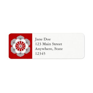 Lotus Flower Mandala, Dark Red, Gray and White Return Address Label