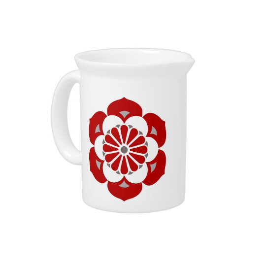 Lotus Flower Mandala, Dark Red, Grey and White Drink Pitcher