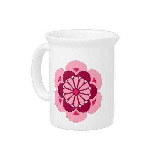 Lotus Flower Mandala, Fuchsia Pink and Burgundy Drink Pitchers