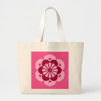 Lotus Flower Mandala, Fuchsia Pink and Burgundy Large Tote Bag