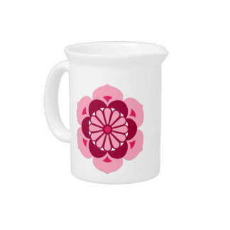 Lotus Flower Mandala, Fuchsia Pink and Burgundy Pitcher