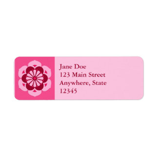 Lotus Flower Mandala, Fuchsia Pink and Burgundy Return Address Label