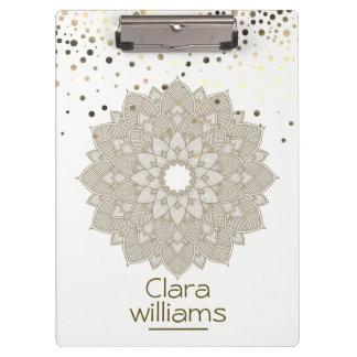 Lotus Flower Mandala Glitter Faux Confetti Modern Clipboard