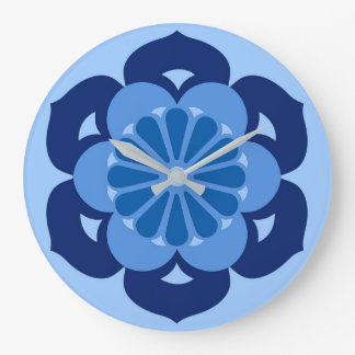 Lotus Flower Mandala, Indigo and Light Blue Large Clock
