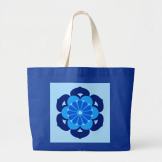 Lotus Flower Mandala, Indigo and Light Blue Large Tote Bag