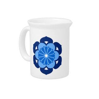 Lotus Flower Mandala, Indigo and Light Blue Pitcher