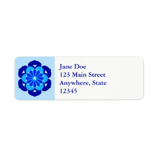 Lotus Flower Mandala, Indigo and Light Blue Return Address Label