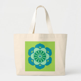 Lotus Flower Mandala, Lime Green and Light Blue Large Tote Bag