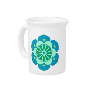 Lotus Flower Mandala, Lime Green and Light Blue Pitcher