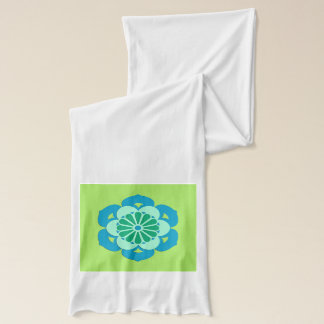 Lotus Flower Mandala, Lime Green and Light Blue Scarf