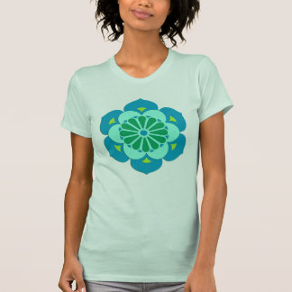 Lotus Flower Mandala, Lime Green and Light Blue T-Shirt