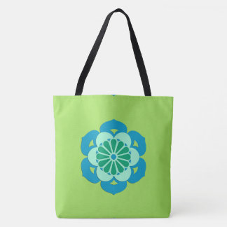 Lotus Flower Mandala, Lime Green and Light Blue Tote Bag