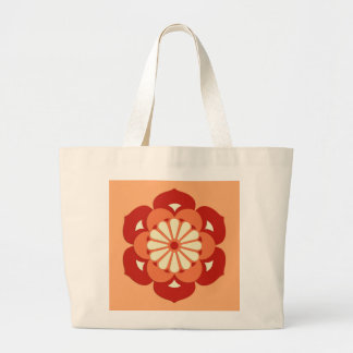 Lotus Flower Mandala, Pastel Orange and Mandarin Large Tote Bag