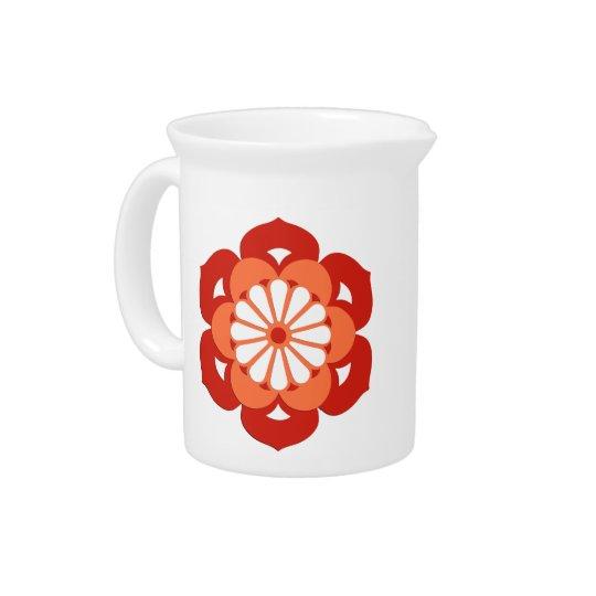 Lotus Flower Mandala, Pastel Orange and Mandarin Pitcher