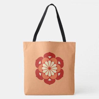 Lotus Flower Mandala, Pastel Orange and Mandarin Tote Bag