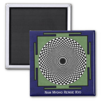 Lotus flower meditation wheel square magnet