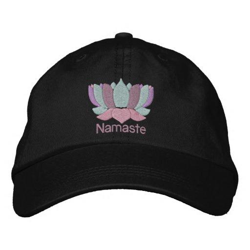 Lotus Flower Namaste Embroidered Hat