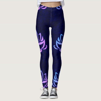 Lotus Flower Pink Blue Navy Legging
