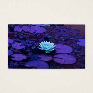 Lotus Flower Purple Blue Turquoise Floral Pond Zen Business Card