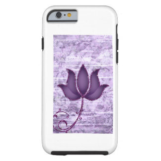 Lotus Flower Vintage Damask Purple Glitter Tough iPhone 6 Case
