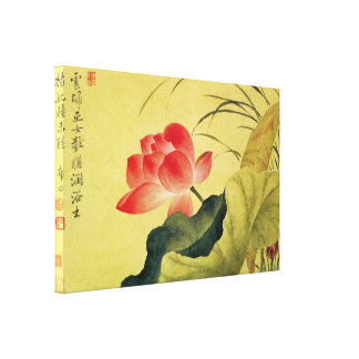 Lotus Flower Vintage Qing Dynasty Stretched Canvas Print