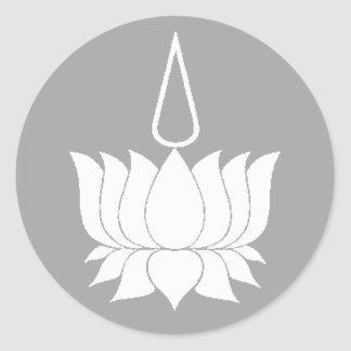 Lotus Flower White On Grey Classic Round Sticker