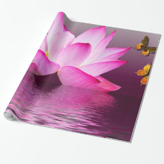 Lotus Flower with Butterfly Insect