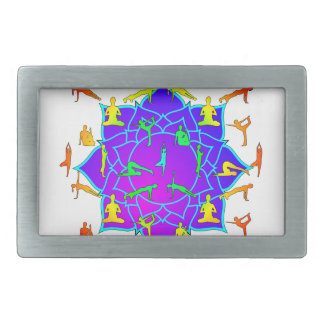 Lotus Flower With Yoga Positions Belt Buckles