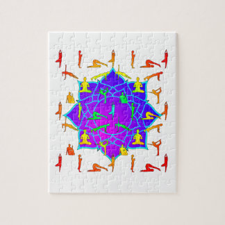 Lotus Flower With Yoga Positions Jigsaw Puzzle