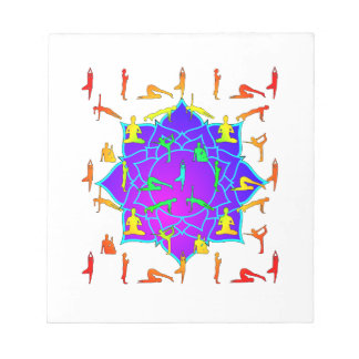 Lotus Flower With Yoga Positions Notepad