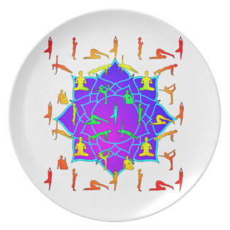 Lotus Flower With Yoga Positions Plate