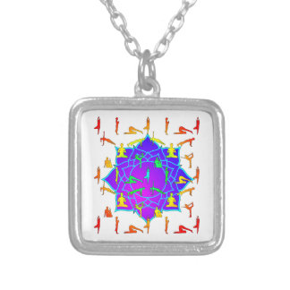 Lotus Flower With Yoga Positions Silver Plated Necklace