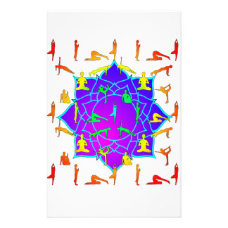 Lotus Flower With Yoga Positions Stationery