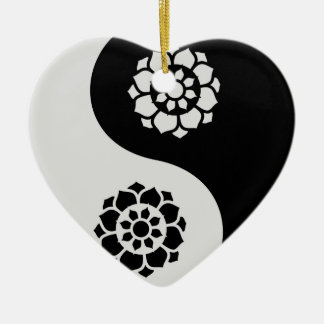 Lotus Flower Yin Yang Ceramic Ornament