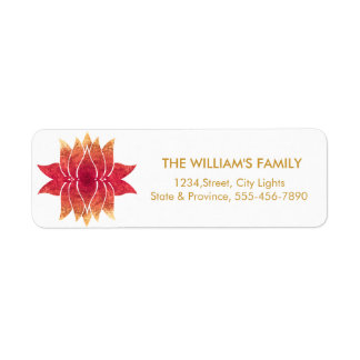 Lotus Flower Yoga Meditation Floral Red Return Address Label