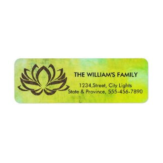 Lotus Flower Yoga Vintage Green Holistic Return Address Label