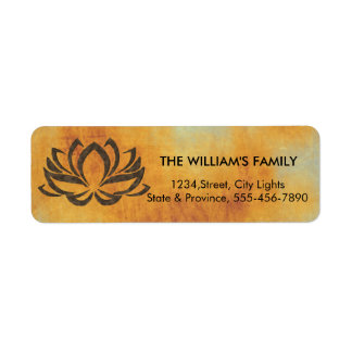 Lotus Flower Yoga Vintage Rustic Holistic Return Address Label