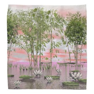 Lotus flowers and bamboos - 3D render Bandana