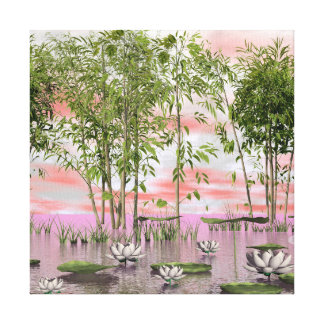 Lotus flowers and bamboos - 3D render Canvas Print