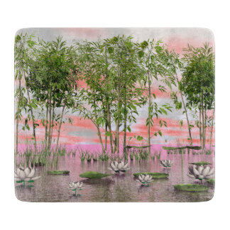 Lotus flowers and bamboos - 3D render Cutting Board