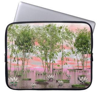 Lotus flowers and bamboos - 3D render Laptop Sleeve