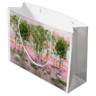 Lotus flowers and bamboos - 3D render Large Gift Bag