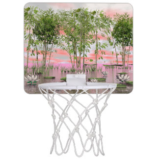 Lotus flowers and bamboos - 3D render Mini Basketball Hoop