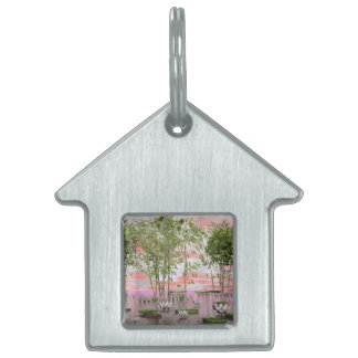 Lotus flowers and bamboos - 3D render Pet ID Tags