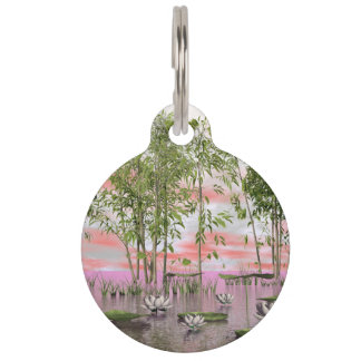 Lotus flowers and bamboos - 3D render Pet Tag